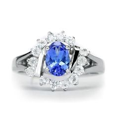 SPLENDID 7x5mm Natural Blue Tanzanite Ring With White Zircon in 925 Silver #Multajewelry #SolitairewithAccents