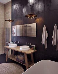 Mueble lavabo / sanitarios baño: Una simple mesa con 2 estantes y dos lavabos de apoyo, lo convierten en un #baño  muy especial. #decoración #baños