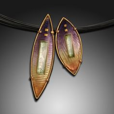 Lentil Pendants, Enamel, Gold. By Amy Roper Lyons.