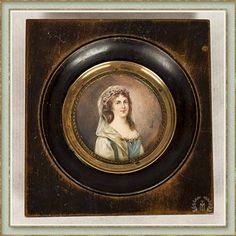 Miniatura retrato de una dama - s. XIX