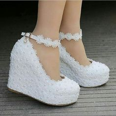 """Details about women white lace wedge high heel wedding pumps shoes round toe bridal shoes plus Heel Height: about 11 cm. """" If you are satisfied, we sincerely hope that you can leave us a. Circumference:about cm. Lace Wedges, Shoes Heels Wedges, Wedge Shoes, Women's Shoes, Shoe Boots, Wedge Sandal, Bridal Shoes Wedges, Lace Pumps, White Wedges"""