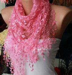 Women Shawl Scarf  Headband Necklace Cowl Candy Pink by fatwoman, $19.00