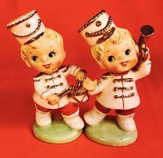 SO CUTE! Fun Marching Band Boy Figurines Vintage Napco Lefton 1950s Kitsch Retro | eBay