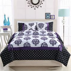 Franchesca Comforter Set, Purple ($64) ❤ liked on Polyvore featuring home, bed & bath, bedding, comforters, purple, patterned comforters, hypoallergenic bedding, machine washable comforter, purple comforter and purple twin comforter