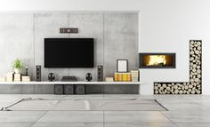 Modern living room with TV and fireplace - rendering