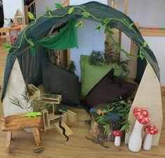 Inspirational Setups-photo from Educating Kids Childcare Rooms, Childcare Activities, Nursery Activities, Work Activities, Play Corner, Corner House, Cozy Den, Cozy Nook, School Displays