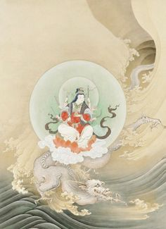 Benzaiten, the goddess of  music and good fortune, on a dragon.  Dated 1886, Japan, by artist Hashimoto Gaho.  Detail of panel, ink and gold on paper. |  MFA