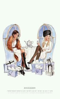 Tomando té en unos sillones muy de época
