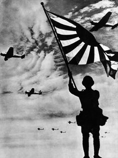 A Japanese flag bearer and a squadron of Japanese fighter planes, circa 1941. Photo: akg-images.