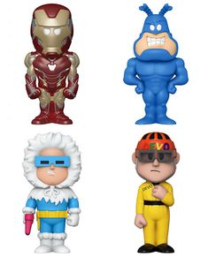 Funko announced 4 new Soda Vinyl figures today. Videguy Collectibles is taking pre-order for them. Iron Man, Devo, The Tick and Captain Cold join the Soda family. #VideguyCollectibles #ironman #TheTick #devo #captaincold #funko #sodavinyl Vinyl Figures, Iron Man, Soda, Beverage, Soft Drink, Iron Men, Sodas, Fresh Water