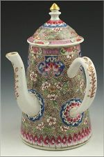 Rare 18th Century Chinese Export Porcelain Teapot w/ Ruby Enamel & Side Handle