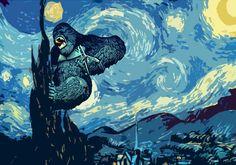 """Starry Night for Kong"" - art by KBMOZAIC, via deviantART"
