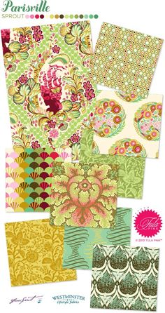 "the ""sprout"" colorway of Tula Pink's Parisville fabric line.  don't love all of them, but the line is kind of growing on me."