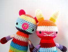 toy bear children amigurumi crochet doll rainbow  big by rosieok, $30.00