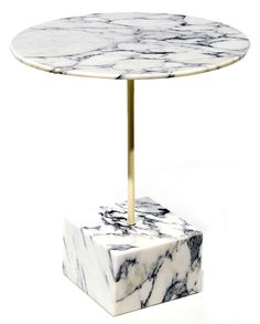 Ettore Sottsass; Brass and Marble Occasional Table for Ultima, c2000.