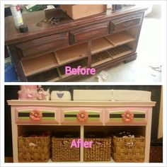 Refurbished furniture to make a beautiful yet CHEAP nursery changing table!!! Never buying new furniture again...