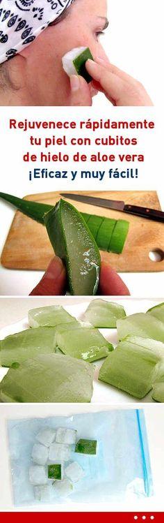 Rejuvenece rápidamente tu piel con cubitos de hielo de aloe vera. ¡Eficaz y muy fácil! #aloevera #cubosdehielo #rejuvenecimiento #piel #rostro