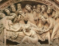 Death of the virgin on the tympanum at Strasbourg, France