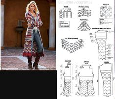 Crochet jacket diagram 35 New Ideas Cardigan Au Crochet, Gilet Crochet, Crochet Coat, Crochet Jacket, Crochet Shawl, Crochet Clothes, Crochet Stitches, Crochet Patterns, Long Cardigan