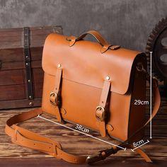 Handmade Vintage Genuine Leather Briefcase Handbag Messenger Laptop Bag 14148