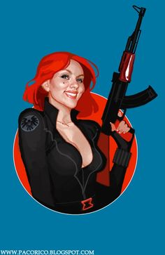 "Artist Francisco Rico Torres has appropriately titled this vibrant portrait ""Scarlett Widow"""