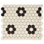 Merola Tile Gotham Hex Antique White with Flower 10-1/4 in. x 12 in. x 5 mm Unglazed Porcelain Mosaic Tile (8.54 sq. ft. / case)-FXLGHWF - The Home Depot