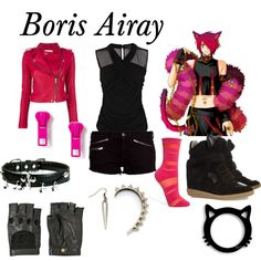 """""""Boris Airay"""" by animedowntherunway on Polyvore>>>> Personally, I would just change the shirt to be pink, and not wear the jacket :)"""