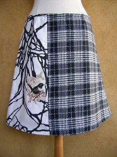 Geruite rok met Kraagmerel borduurwerk upcycled A-lijn rok