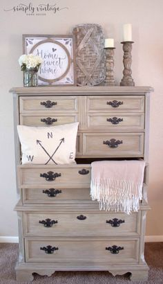 Weathered Wood Look Using Chalk Paint – Layer and blend colors together to get a rustic, weathered wood look. Weathered Wood Look Using Chalk Paint – Layer and blend colors together to get a rustic, weathered wood look. Bedroom Furniture Makeover, Painted Bedroom Furniture, Distressed Furniture, Refurbished Furniture, Rustic Furniture, Modern Furniture, Antique Furniture, Bedroom Ideas, Wood Furniture Paint Colors