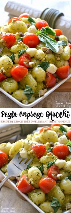 Side Dish Recipe - This Pesto Caprese Gnocchi is perfect to serve as a side dish or appetizer. The ingredient combination is brilliant and delicious! PIN IT NOW and make it later!