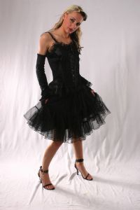 Gothic Fairy Mini Skirt. Lace Tiered Mini Skirt available in 4 colours.By Bares/FashionX~93-1395~