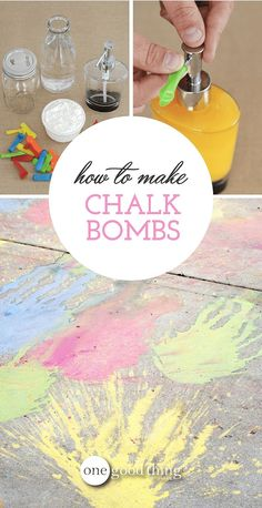 Add some messy, colorful outdoor fun to your summer with these homemade chalk bombs! #summeractivities #chalkbombs #homemadechalk #DIYsummerfun #OGT