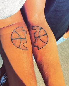 Basketball Puzzle Sibling Tattoo Idea