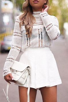 White Lace Blouse with Hollow Design 32 Of The Best Casual Style Outfits You Need To Try – White Lace Blouse with Hollow Design Source Looks Street Style, Looks Style, White Outfits, Casual Outfits, White Outfit Party, All White Outfit, Lace Outfit, White Blouse Outfit, White Long Sleeve Shirt Outfit
