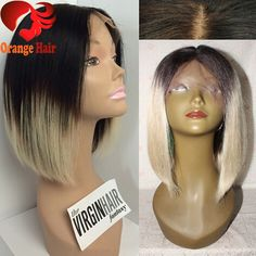 Brazilian Blonde Wig Bob Cut Dark Roots Ombre Blonde Human Hair Full Lace Wigs Two Tone Color 1b#T60# Virgin Human Hair Bob Wig