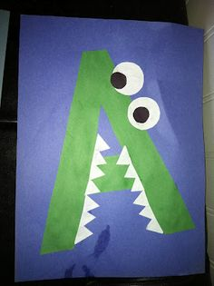 letters, kindergarten, preschool, alphabet craft, a alligator craft, alphabet animals, a is for alligator