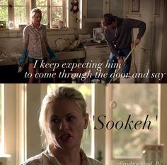 Funny True Blood Scene!!  I hope some form of reuniting with Bill comes in the final season! The best seasons were when they were together!