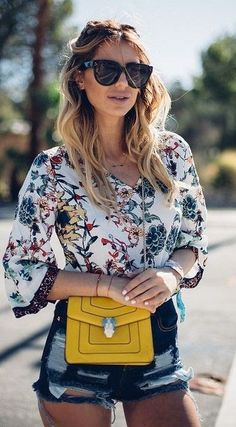 #street #style #spring #2016 #it-girl #outfitideas |Boho Blouse + Pop Of Yellow + Ripped Denim |Zorannah