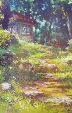 Ghibli Scenery backgrounds - The Secret World of Arrietty Art Studio Ghibli, Fantasy Landscape, Landscape Art, Fantasy Art, Secret World Of Arrietty, The Secret World, Hayao Miyazaki, Art Environnemental, Art Anime