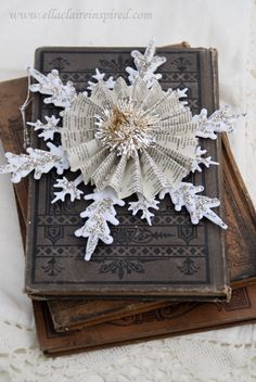 Vintage Snowflake Handmade Christmas Ornament From Book pages