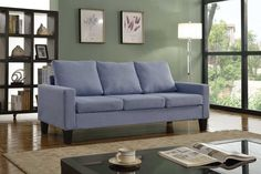 """3 Person Contemporary Light Blue Uphostered Linen Sofa 277lblue 77"""" Wide"""