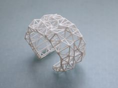white geometric cuff - Faceted Cuff bracelet in White. 3d printed statement jewelry. winter fashion, modern, via Etsy.