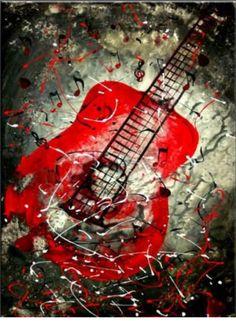 Guitare en peinture à l'huile