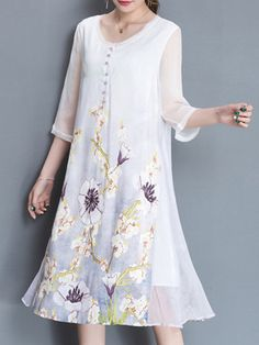Vintage Women Printed 3/4 Sleeve O-Neck Dresses Shopping Online - NewChic Mobile.