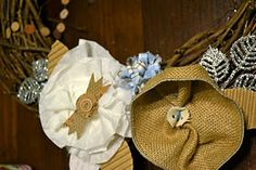 Great tutorial showing how to make theses #flowers from coffee filters, material and burlap.  Also placement on #grapevine wreath.