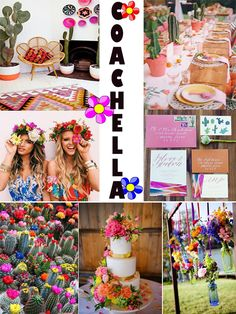 Mood Board Themed Party: Coachella Inspired Sweet 16 injinnyous,com Coachella Party Theme, Coachella Birthday, Festival Coachella, Festival Themed Party, Cochella Theme Party, Coachella Party Decorations, Sweet 16 Party Themes, Sweet Sixteen Parties, 13th Birthday Parties