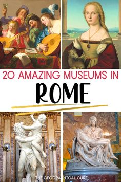 Planning a trip to Rome or want to take a virtual tour of Rome's best museums? This Rome itinerary takes you to 21 of the best museums in Rome. Some of these world class museums are must see sites in Rome. Others are secret hidden gems in Rome. They all have fantastic art from Roman ruins and statuary to fantastic Renaissance and Baroque art. You'll find works by Michelangelo, Leonardo da Vinci, Caravaggio, and Bernini. Rome Itineraries | Rome Destinations | What To Do and See in Rome Museum Guide, Rome Itinerary, Day Trips From Rome, Baroque Art, Rome Travel, Caravaggio, Ancient Ruins, Fantastic Art, Most Romantic