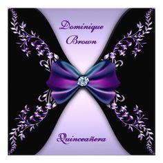 Custom Elegant Purple Black Diamond Bow Quinceanera Invite created by InvitationBlvd. This invitation design is available on many paper types and is completely custom printed. Quince Invitations, Sweet Sixteen Invitations, Elegant Invitations, Party Invitations, Invites, Sweet Sixteen Gifts, Sweet 16 Gifts, Sweet 15, Quinceanera Decorations