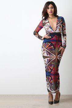 Abstract Geo Mesh Long Sleeve Maxi Dress