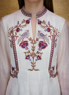 Indian Fashion Designers - Anita Dongre - Contemporary Indian Designer - The Pearlina Suit - Embroidery Suits Design, Embroidery Fashion, Hand Embroidery Designs, Embroidery Stitches, Embroidery Patterns, Indian Fashion Designers, Indian Designer Wear, Kurta Designs, Blouse Designs